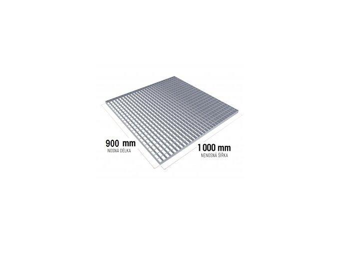 Zinkovaný rošt SP 30/2 - 34 x 38 mm - 900 x 1 000 mm