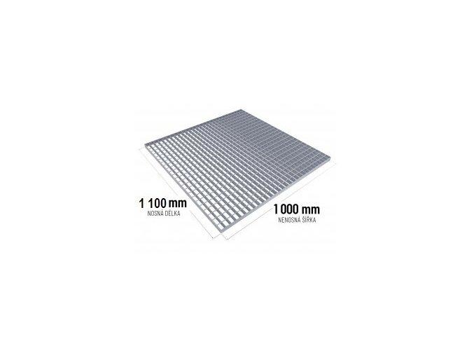 Zinkovaný rošt SP 30/2 - 34 x 38 mm - 1 100 x 1 000 mm