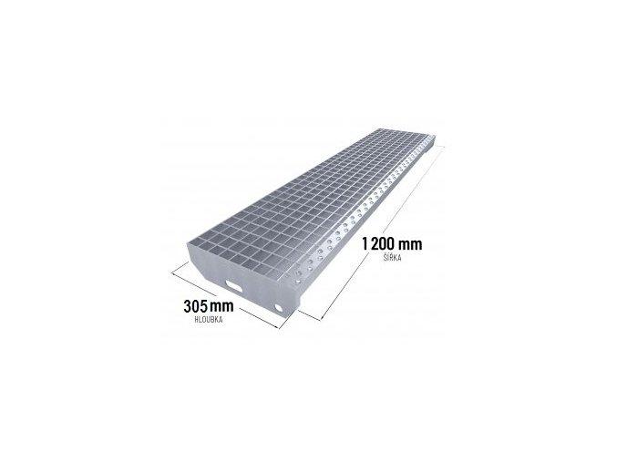 Zinkovaný schodišťový stupeň SP 40/3 - 34 x 38 mm - 1 200 x 305 mm