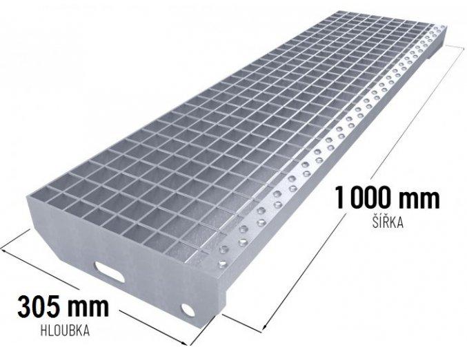 Zinkovaný schodišťový stupeň SP 30/3 - 34 x 38 mm - 1 000 x 305 mm