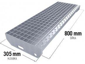 Zinkovaný schodišťový stupeň SP 30/3 - 34 x 38 mm - 800 x 305 mm