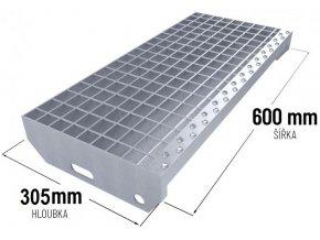 Zinkovaný schodišťový stupeň SP 30/3 - 34 x 38 mm - 600 x 305 mm