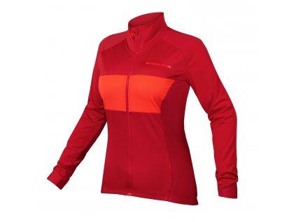 dámský cyklistický dres endura jFS260Pro Jetstream s dlouhým rukávem červená 1