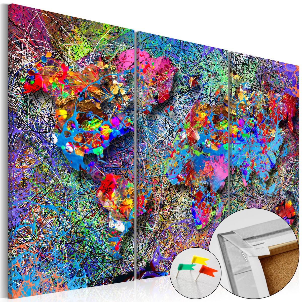 Mapa - barevný vír na korku 120x80 cm