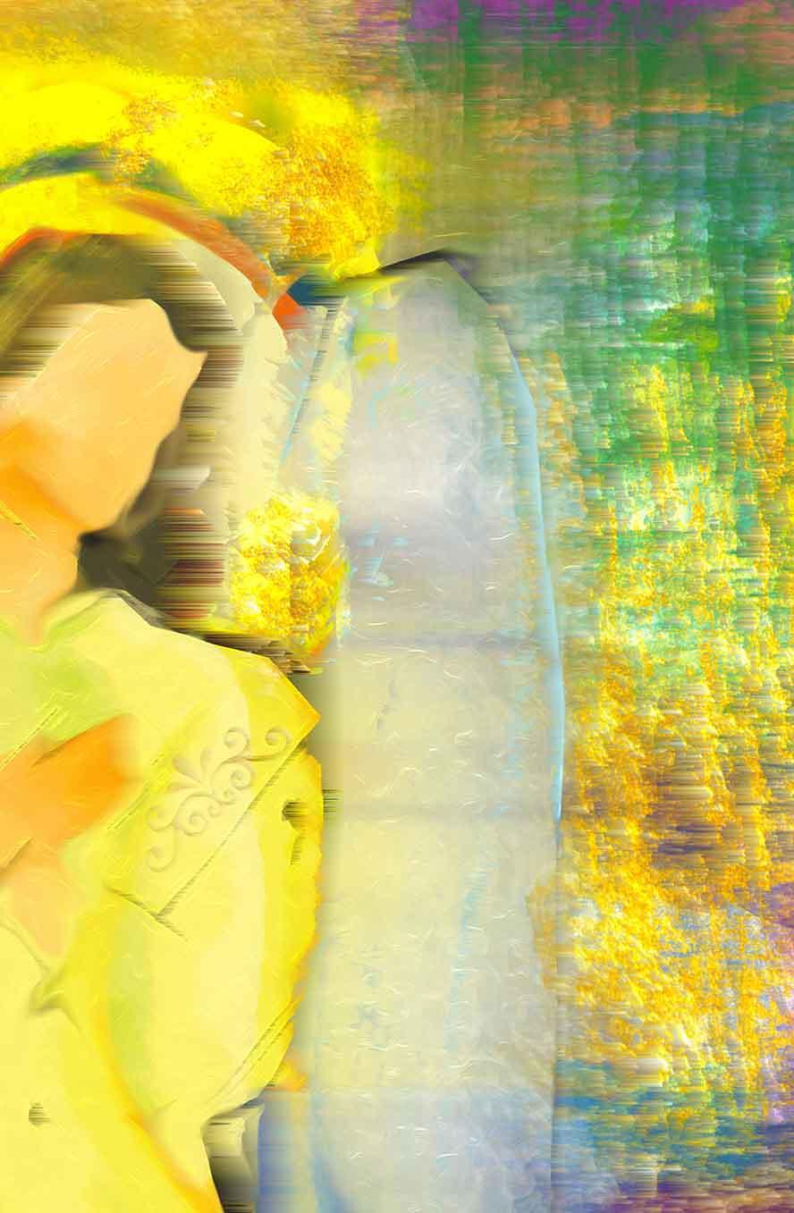 Abstraktní obraz sluneční anděl