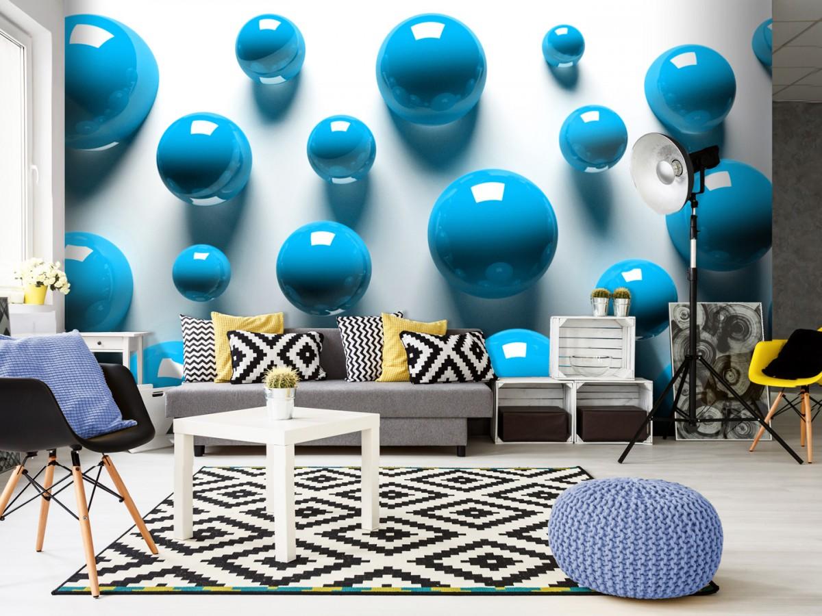 3D tapeta modré koule Rozměry (š x v) a Typ: 450x315 cm - vliesové