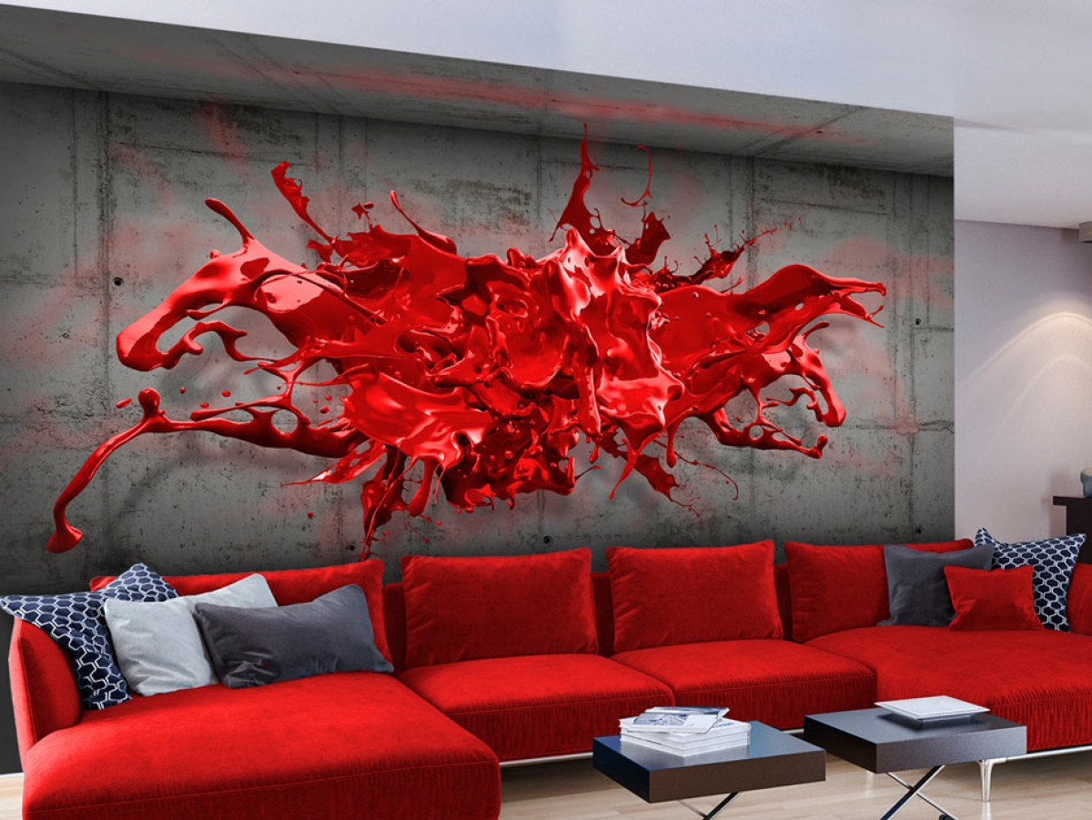 3D červená tapeta Rozměry (š x v) a Typ: 392x280 cm - samolepící