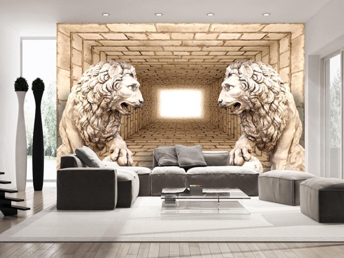 3D tapeta lví strážci Rozměry (š x v) a Typ: 300x210 cm - vliesové