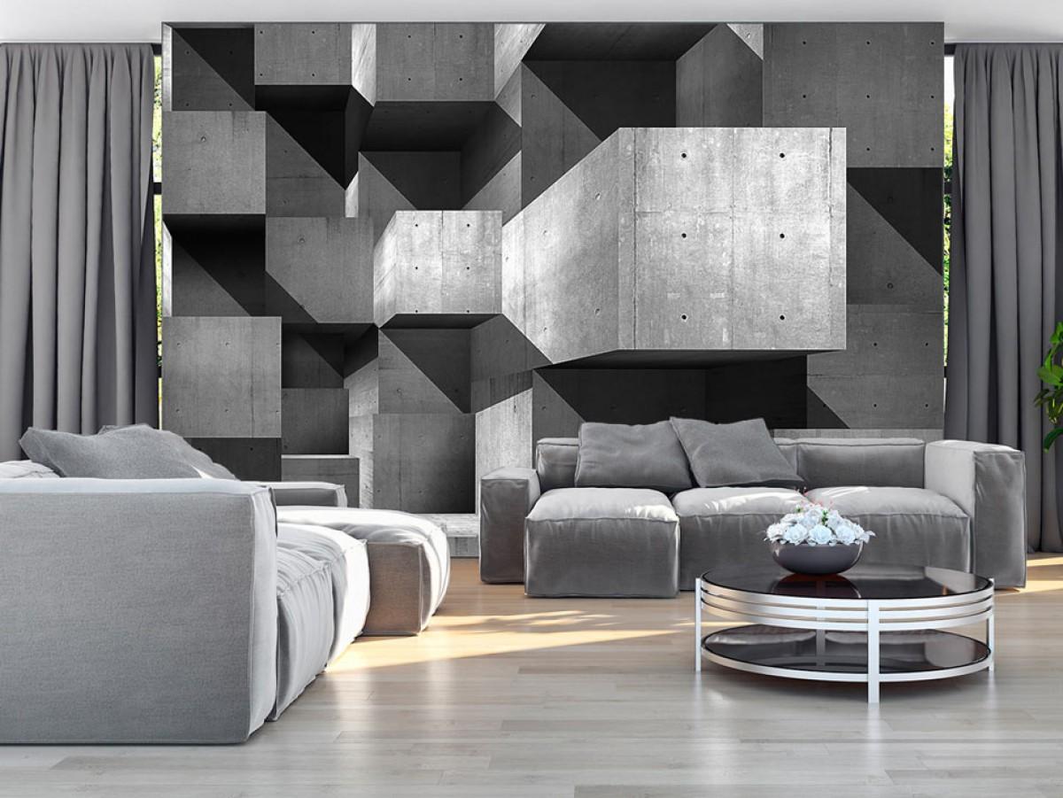 3D tapeta betonové kvádry Rozměry (š x v) a Typ: 400x280 cm - vliesové