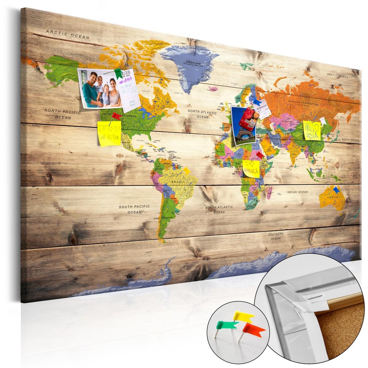 Mapa na korkové tabuli - barevná mapa na dřevě 60x40 cm