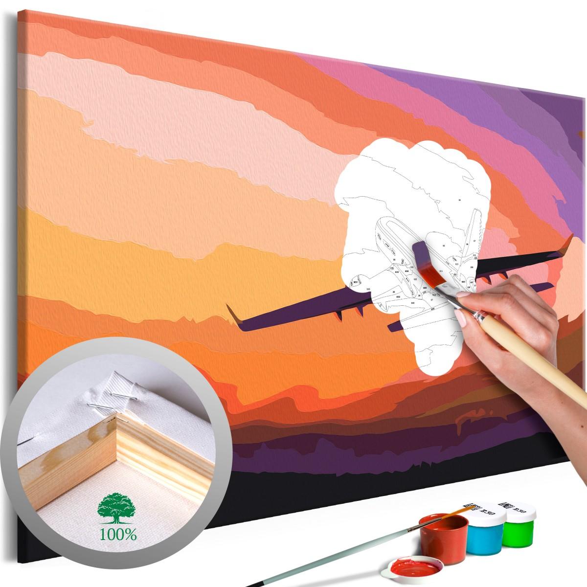 Malování Letadlo v prostoru 60x40 cm