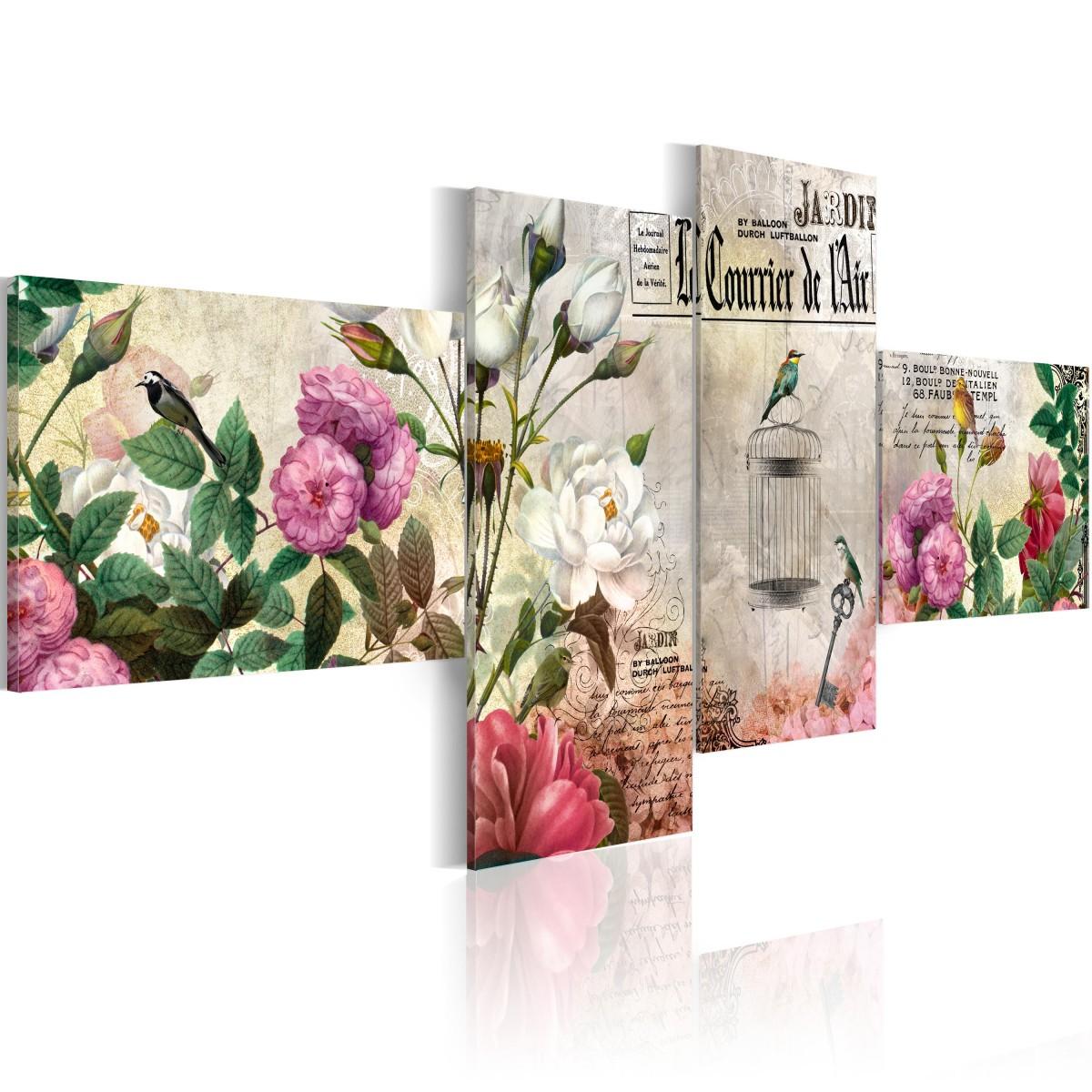 Čtyřdílný obraz - zpěváčci a květiny 200x90 cm