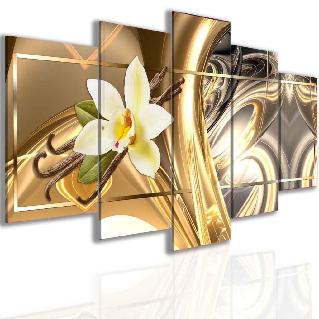 Abstraktní vanilka zlatá 100x50 cm