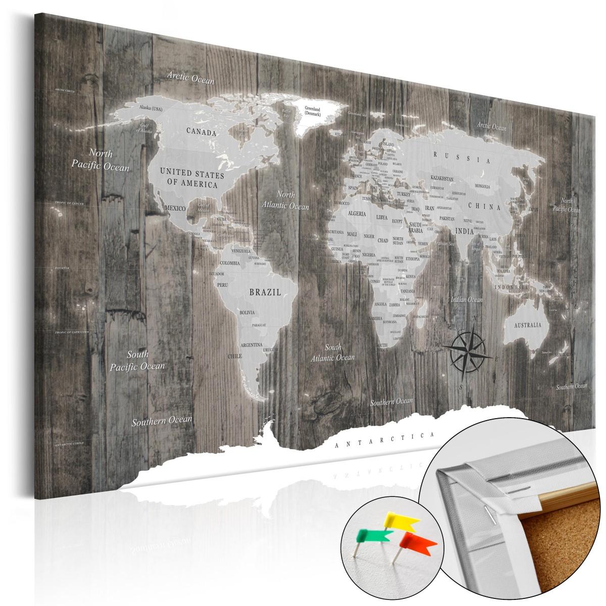 Mapa na korkové tabuli - dřevo 120x80 cm