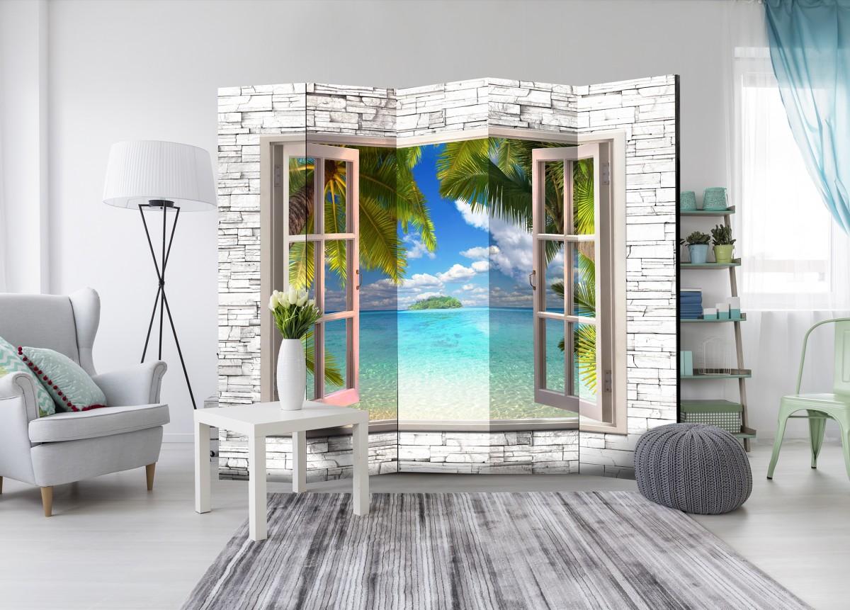 Paraván ostrov snů za oknem 225x172 cm