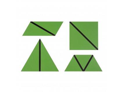 Konstrukční trojúhelníky - sada zelených