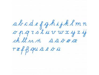 Střední pohyblivá abeceda: mezinárodní, psací písmo, modrá