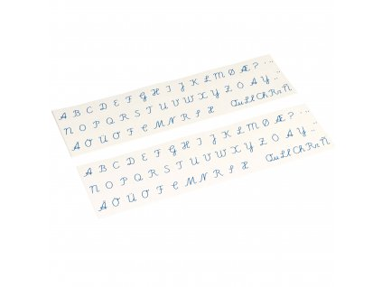 Printed Alphabet: International Cursive - Blue