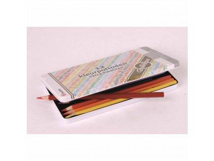 Pastelky šestihranné Goldline 3,7 mm, 12 barev v plechové krabičce