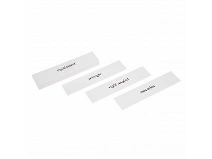 Popisky k částem trojúhelníků z Geometrické komody, anglicky