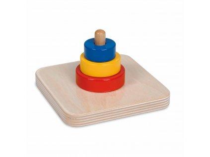 Tři barevné kroužky na kolíku