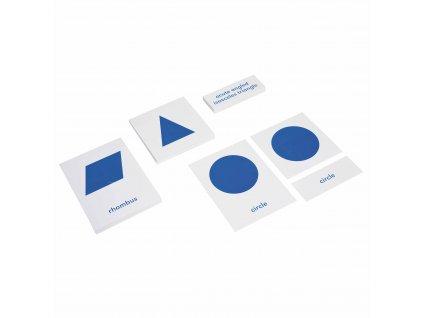 Karty s obrázky a popisky ke Geometrické komodě, anglicky