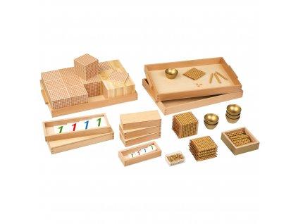 Velký zlatý perlový materiál – set s umělými, volnými perličkami