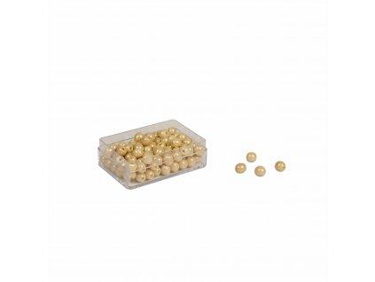 100 zlatých perel – skleněné perličky samostatné, s dírkami
