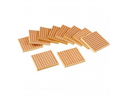 Dřevěný čtverec znázorňující 100, 10 ks