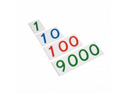 Velké plastové karty s čísly od 1 do 9000