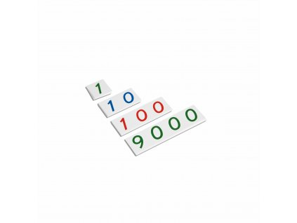 Malé plastové karty s čísly od 1 do 9000