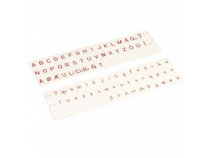 Tištěná tiskací abeceda i s velkými písmeny, červená