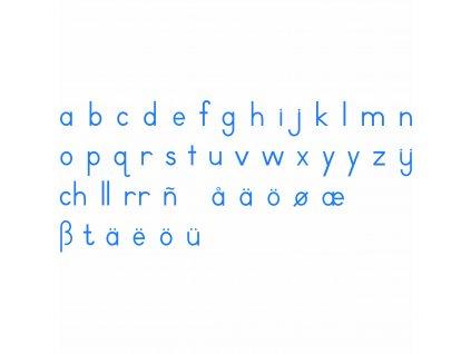 Střední pohyblivá abeceda, tiskací modrá písmena