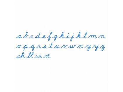 Střední pohyblivá abeceda, psací modrá písmena