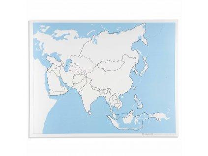 Kontrolní slepá mapa Asie