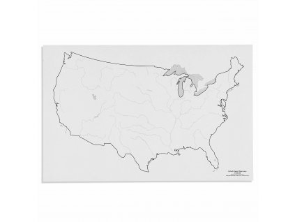 Mapa USA – vodní toky, v angličtině