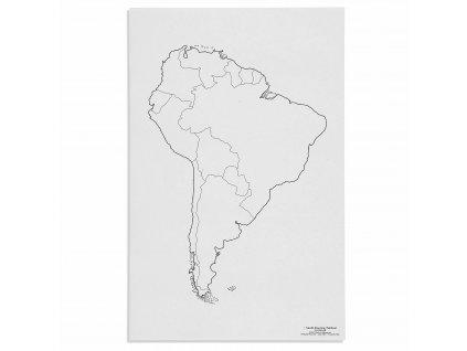 Mapa Jižní Ameriky – politická, v angličtině