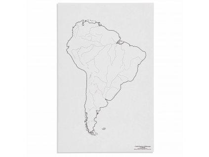 Mapa Jižní Ameriky – vodní toky, v angličtině