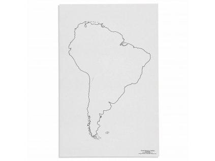 Mapa Jižní Ameriky – slepá