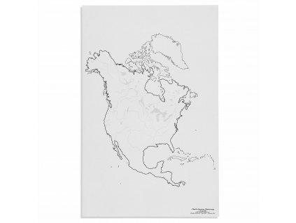 Mapa Severní Ameriky – vodní toky, v angličtině