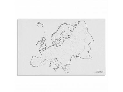Mapa Evropy – vodní toky, v angličtině