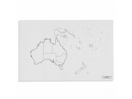 Mapa Austrálie – politická, v angličtině