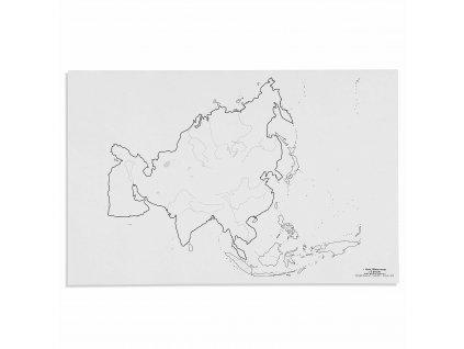 Mapa Asie – vodní toky, v angličtině
