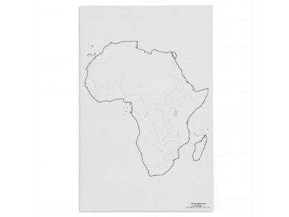 Mapa Afriky – vodní toky, v angličtině