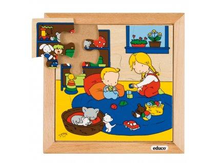 Puzzle Rodina - Miminko - hraní (9 dílků)