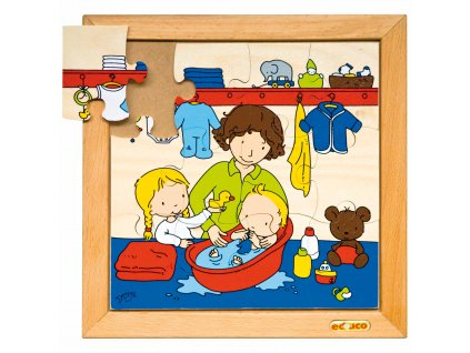 Family puzzles - New baby - washing (12 pieces)
