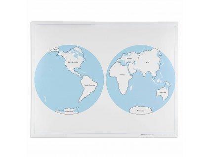Kontrolní mapa světa, v angličtině.