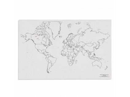 Mapa světa – politická s jezery, v angličtině