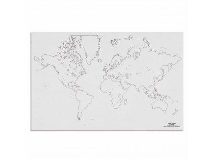 Mapa světa – slepá
