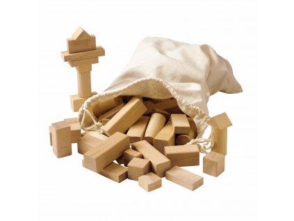 Stavebnice – dřevěné kostky, přírodní